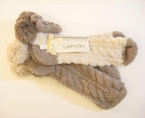 Ivory 2 PR Lemon Ladies Slipper Socks Plush Low Cut Pom Poms Truffle NEW