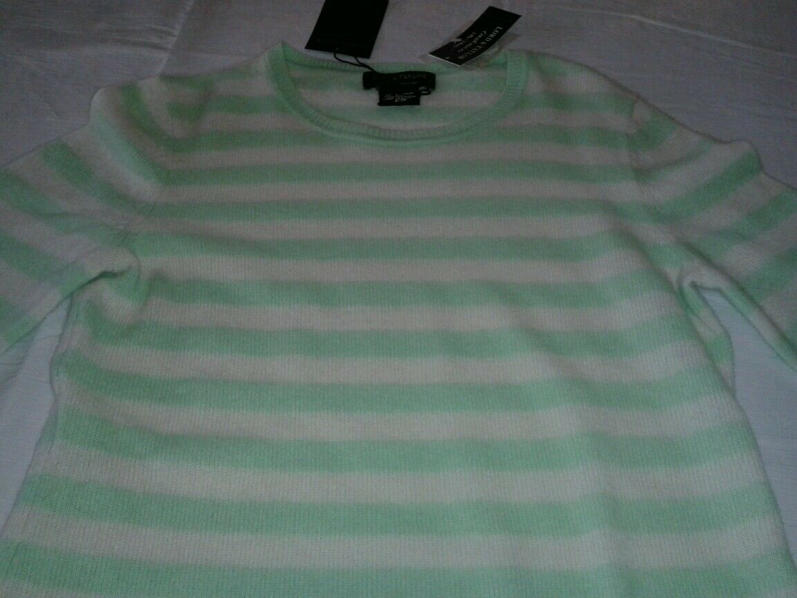 LORD & TAYLOR 100% 2 Ply Cashmere Sweater XS NEW green and white stripes