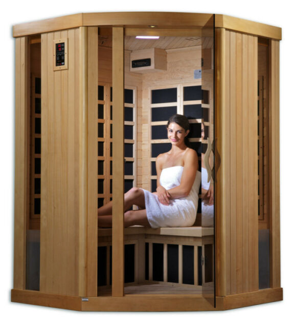 INFRARED CARBON SAUNA - ZERO EMF - 3 Person Corner Hemlock - FREE SHIPPING