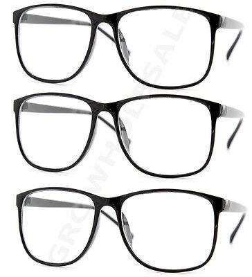 3 Pairs NERD Smart Interview Black FAKE Glasses Thin Frame fashion wholesale lot