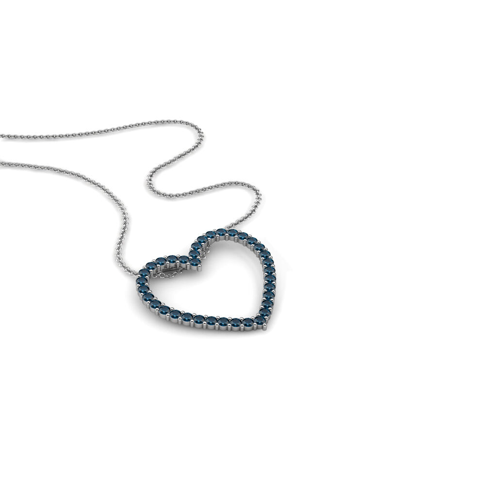 bluee Diamond Heart Pendant 1.08 cttw 14K gold with 18  gold Cable Chain JP 28988
