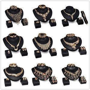 Prom-Wedding-Bridal-Party-Rhinestone-Ring-Bracelet-Necklace-Earring-Jewelry-Set
