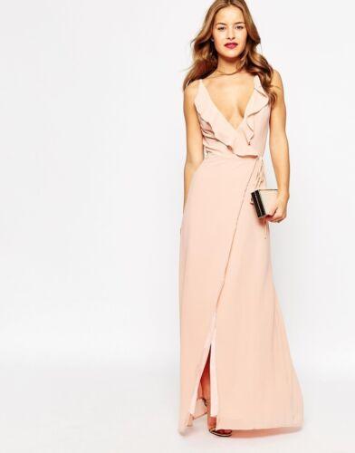 8 JARLO PINK MAXI DRESS PLUNGE RUFFLE WRAP BACKLESS WEDDING BRIDESMAID