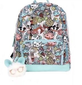 NWT Betsey Johnson Clear Backpack Tote Bag School Donuts Ice Cream Pom Pom