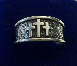 Sterling Silver Pierced Cut Out Cross Ring