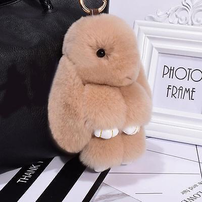 New Rabbit Keychain Fluffy Bunny Keychain Faux Rabbit Fur Pompom Key Ring YYT