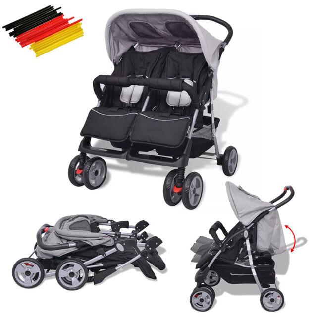Zwillingsbuggy Geschwisterkinderwagen Zwillingswagen Stahl Grau// Schwarz