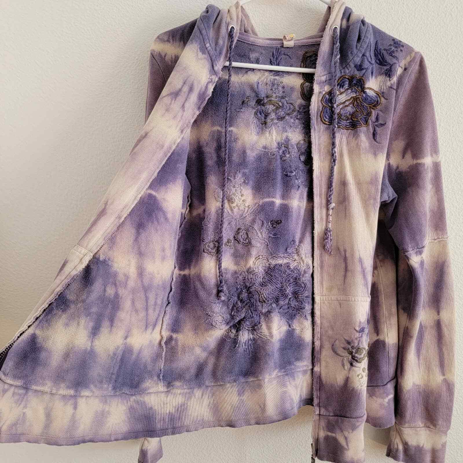Penelope Violet Tie-Dye Embroidered Zip Up Sweater - image 11