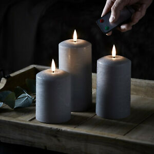 3er Set LED Echtwachs Kerzen Grau mit Docht Fernbedienung ...