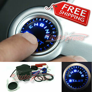 Push-Start-Button-Kit-Ignition-Engine-Starter-UNIVERSAL-Luminous-BLUE-LEDs
