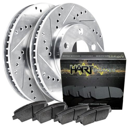 FRONT KIT Platinum Hart *DRILLED /& SLOTTED* Brake Rotors 1800 CERAMIC Pads