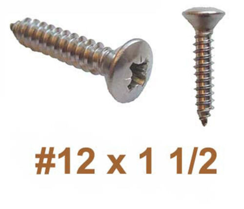 12g x 1 1//2 Stainless Raised Countersunk Self Tapping Screws 5.5mm x 40mm x25