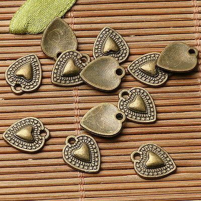 50pcs antiqued bronze color heart  design charms  EF2878