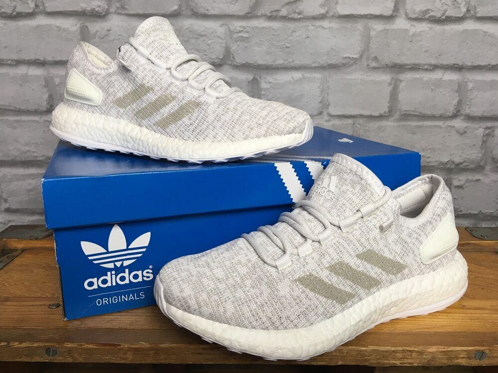 Adidas UK 5 EU 38 Gris Blanc Pure Boost Knit Baskets Homme Femme   110-