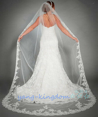 HOT Ivory/White Bridal 2.5m Chapel Length Embroidered Lace Edge Wedding Veil