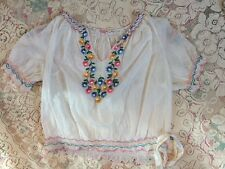 Vintage 1930s Hand Embroidered Hungarian Colorful Cotton Gauze Blouse Floral S/M