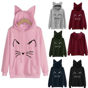 Ladies-Womens-Cat-Ear-Hoodie-Sweatshirt-Hooded-Sweater-Coat-Jumper-Pullover-Tops