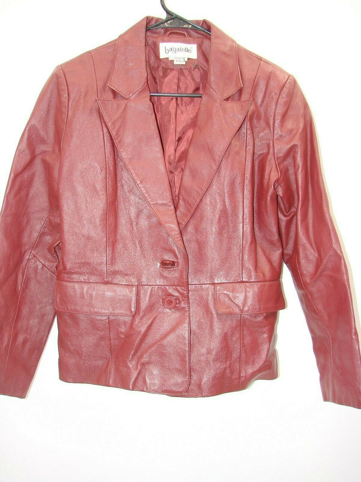 Womens Bagatelle Red Maroon 100% Leather Jacket Size 4 Petite Excellent 24-2323-