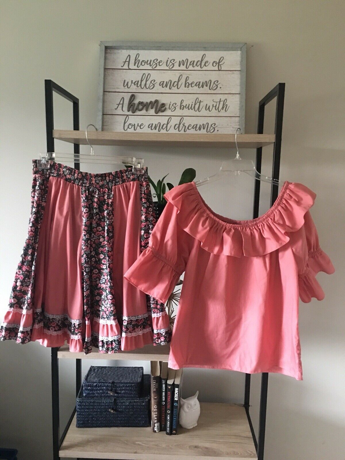 Peach Floral SQUARE DANCE OUTFIT SIZE M SQR UP FASHIONS