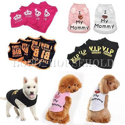 Pet Dog Cute T shirt Clothes Vest Summer Dress Coat Puggy Costumes Apparel