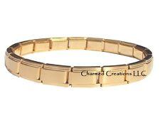 Solid Gold Tone 9mm Italian Charm Stainless Steel Modular Link Starter Bracelet