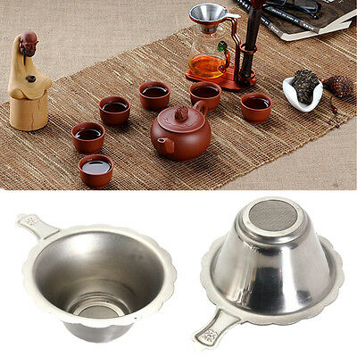 Silver Stainless Steel Double-layer Fine Mesh Tea Infuser Strainer Teapot Filter