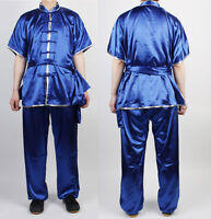 Changquan Uniforms Wushu Kungfu Blue Uniform Taichi Kung Fu Chinese Silver Trim