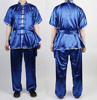 Taichi Kung Fu Chinese Silver Trim Changquan Uniforms Wushu Kungfu Blue Uniform