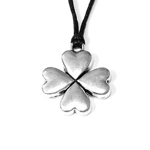 Four-Leaf-Clover-Charm-Pendant-Choker-Necklace-Jewellery-with-Black-Cord