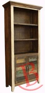 Rustic Stan Bookcase with 2 Slatted Wood Doors Western Solid Wood Shabby Chic