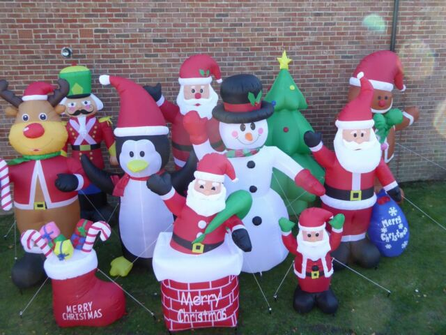 Large Inflatable Christmas Decorations With Lights Indoor Outdoor Santa Snowman