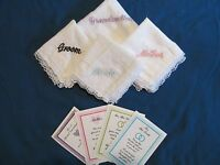 Embroidered Handkerchiefs Bride Groom Mother Grandmother Your Choice Free S/h