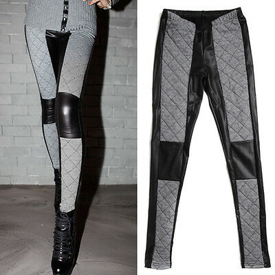 Fleece Faux Leather Leggings with Houndstooth Check Quilting Warm Winter Pants