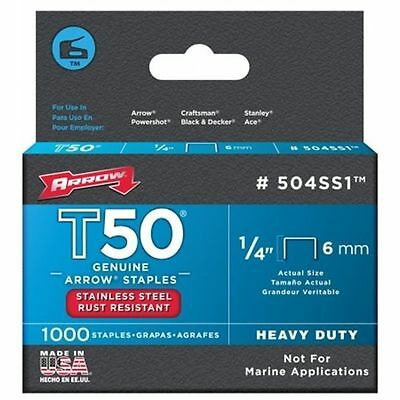 NEW Arrow Fastener 506SS1  Genuine T50 Stainless Steel 3//8-Inch Staples 2545556