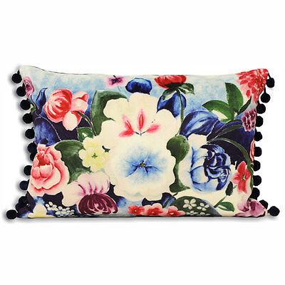 Paoletti Akita Floral Boudoir Cushion Cover, Royal Blue, 35 x 50 Cm