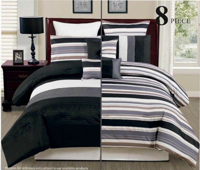 8PC Reversible Luxury Comforter Bed in Bag Bedding Set, Black/Grey/White