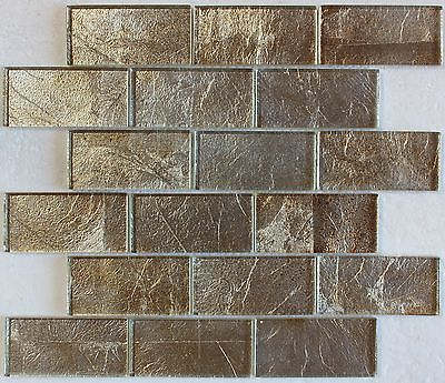 """Gold Silver Foil Glass Mosaic Tile 2""""X4"""", Bath Kitchen Backsplash Wall"""