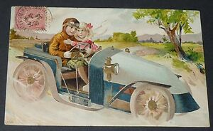 CPA-1906-CARTE-POSTALE-FRANCE-FANTAISIE-Gaufree-AUTOMOBILISTE-AUTO-COUPLE