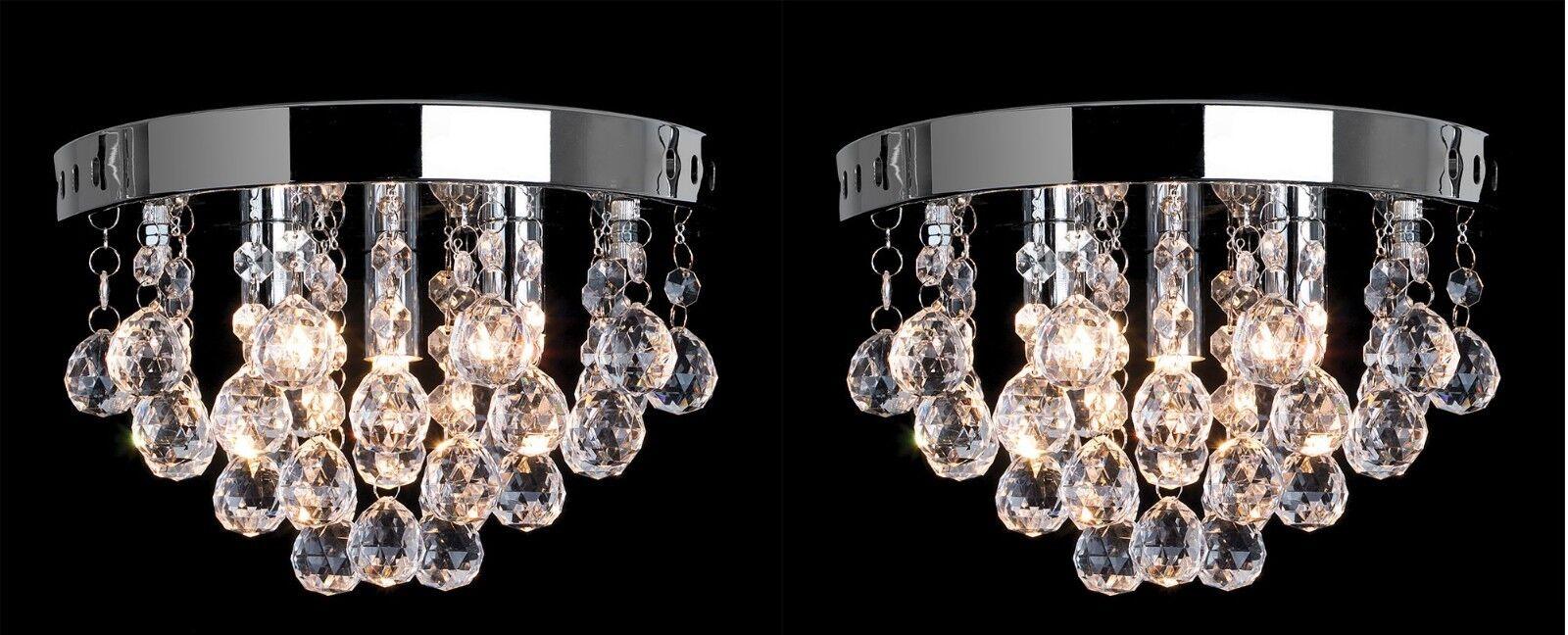 2x bijou Lustre Rond Plafonnier en Cascade de Cristal Transparent Pendentif Pendentif Transparent 03e0ff