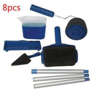 8Pcs Paint Runner Pro Roller Brush Set Room Painting Wall Handle Decorating Tool