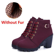 c032062ae4f item 6 Womens Chunky Boots Lace Up Mid Block Heel Ankle Boots Suede Leather  Shoes Size -Womens Chunky Boots Lace Up Mid Block Heel Ankle Boots Suede  Leather ...