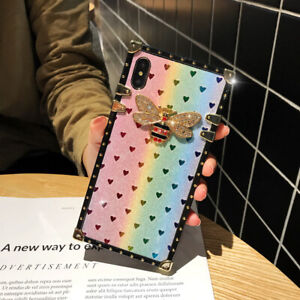 Details About Bling Glitter Heart Diamond Bee Square Protective Case For Phone 7 8 Xs Max Xr