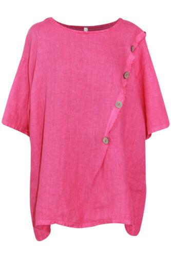Ladies Linen Top Womens Tunic Lagenlook Front Button Detail Casual Dress Shirt