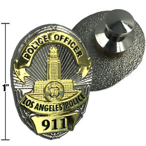 LAPD Officer shield Pin double plated with deluxe spring loaded clasp