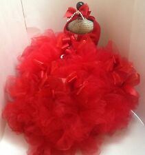 RED DOG DRESS SMALL DOG HARNESS DRESS RED BOWDACIOUS WEDDING PARTY BRIDESMAID