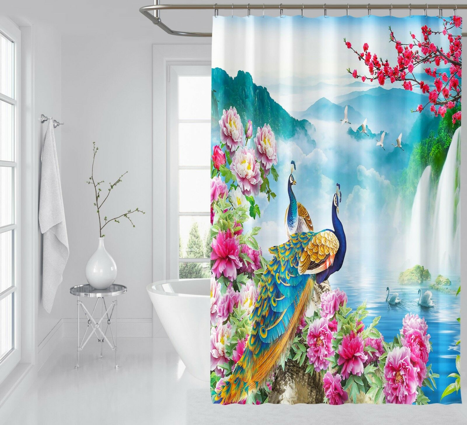 3D décor paon 7 Rideau de Douche Imperméable Fibre Salle De Bain Windows Toilette