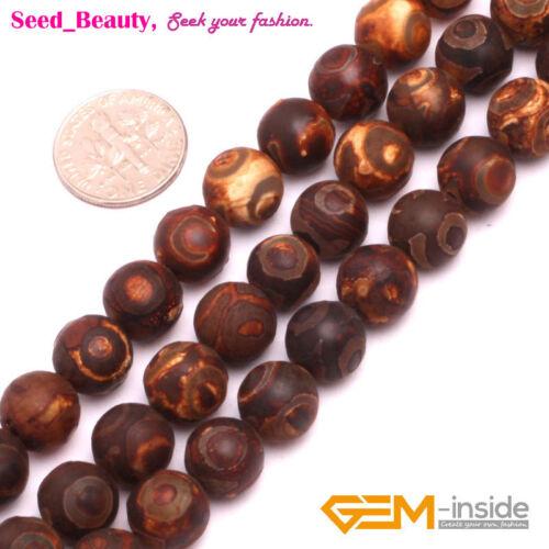 """Piedra preciosa piedra natural ágata Fabricación De Joyería Perlas 15/"""" 6-12mm evil eye Beads"""