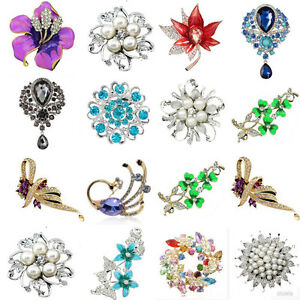 1 pc Elegant Women Rhinestone Crystal Flower Wedding Bridal Bouquet Brooch Pin