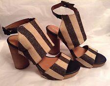 New🌹Next🌹Size 5 (38 EU) Cream / Black Stripe Retro Style Shoes Sandals Rrp £45