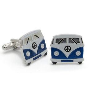 Camper-Van-VW-Cufflinks-by-Onyx-Art-New-Boxed-Blue-CK714